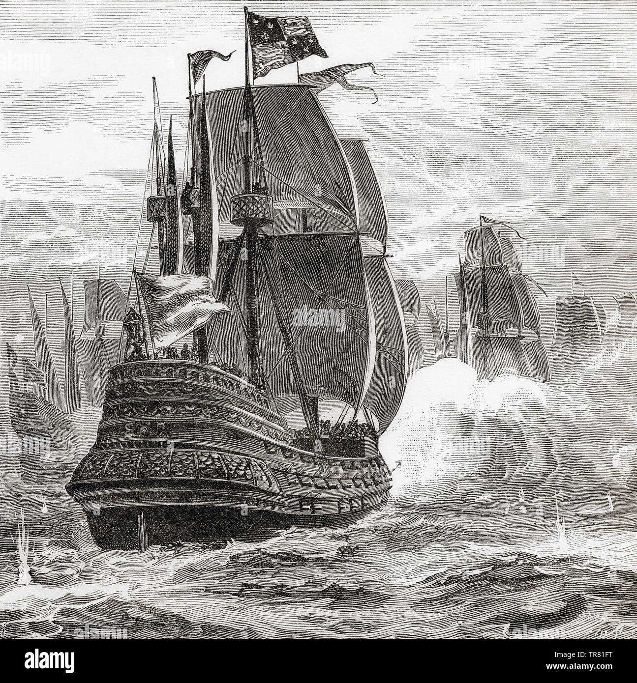 A 19th century ship of the line with three running gun batteries from stern to prow.  From La Ilustracion Iberica, published 1884. Stock Photo