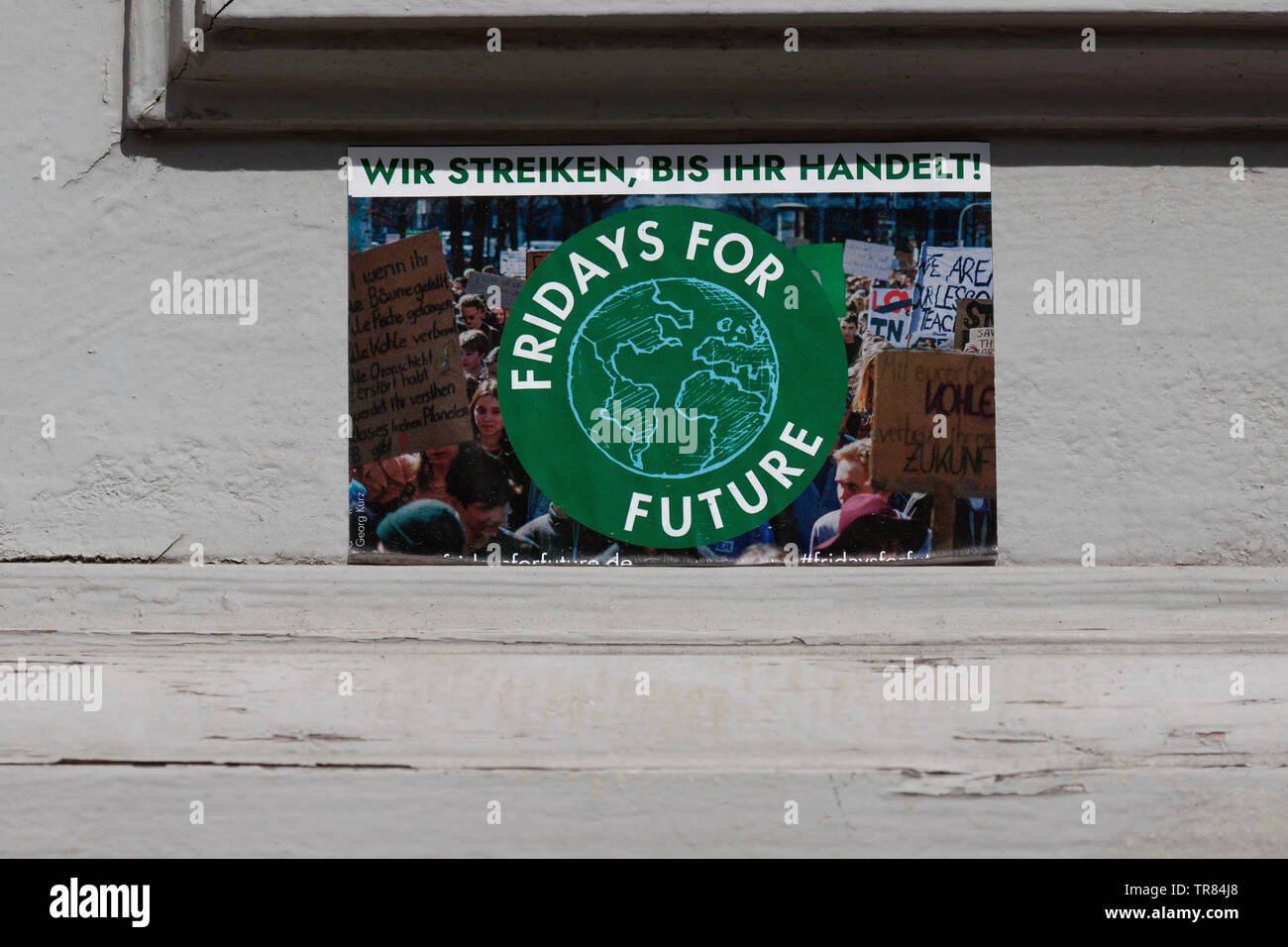 Sticker, Fridays for future in Berlin, Germany Stock Photo