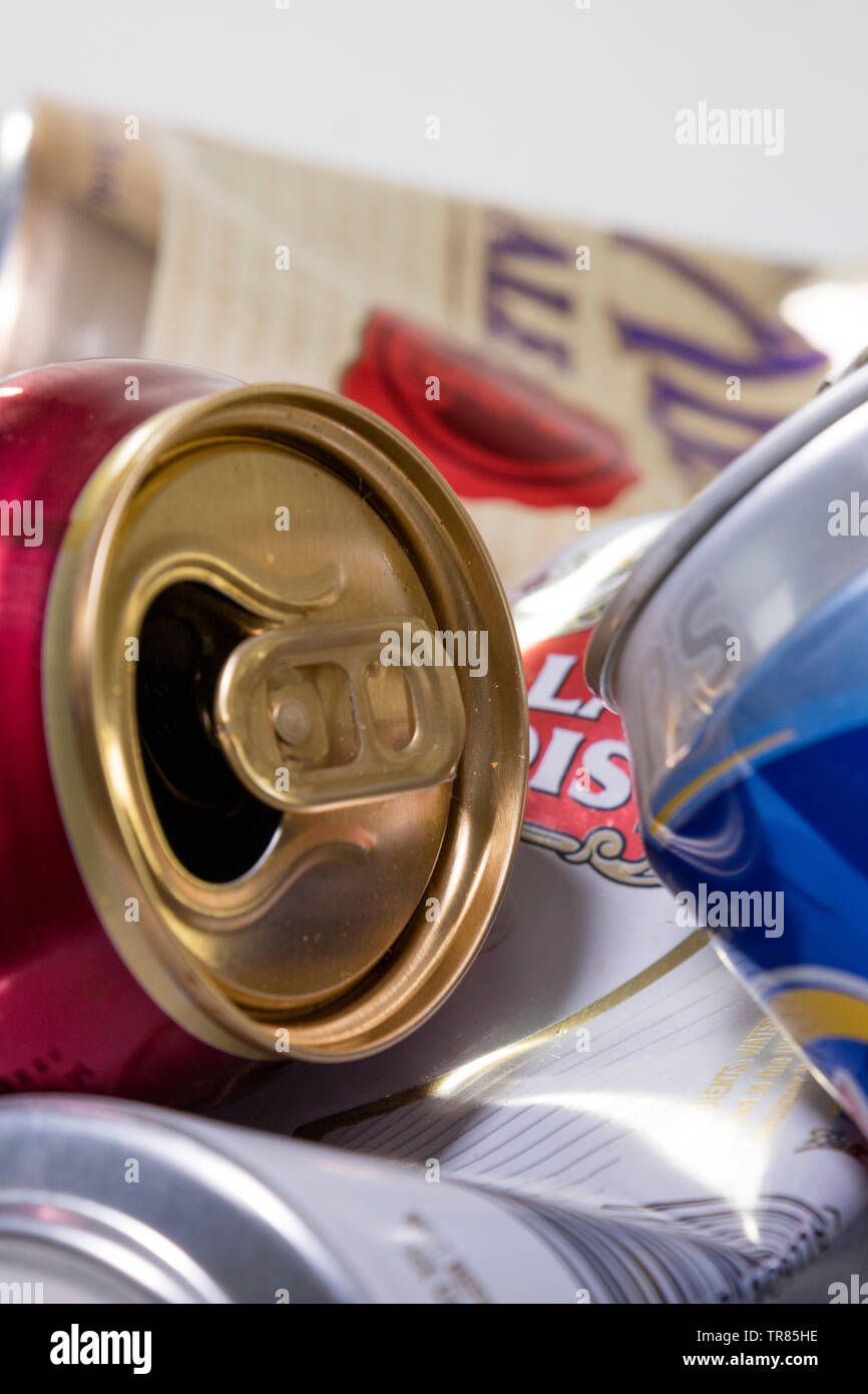 Used Beer and Larger cans - Stock Image