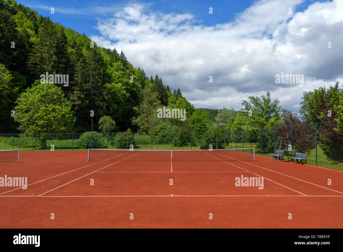 Clean pulled tennis court after the spring overhaul Stock Photo