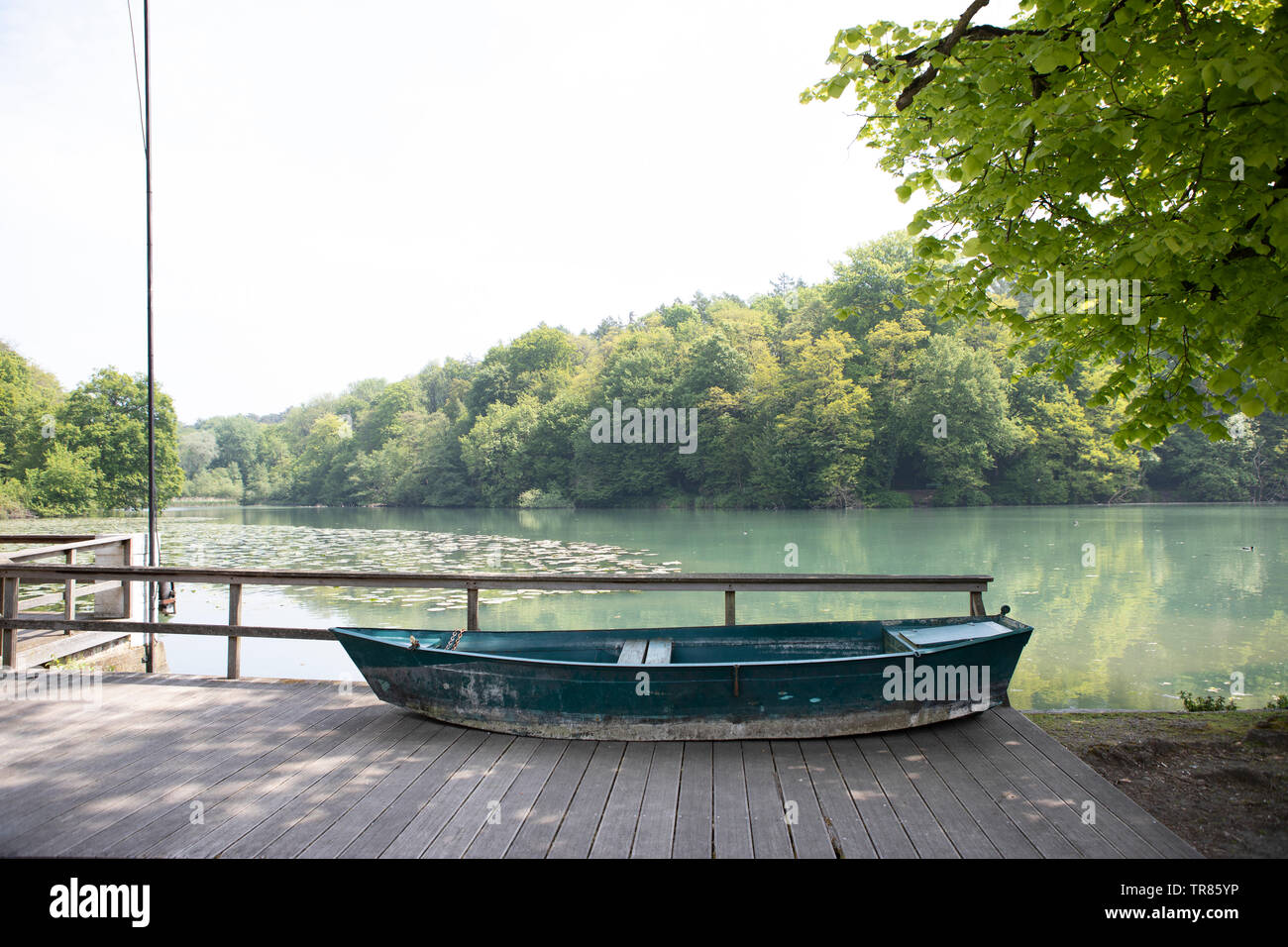 Boat by a lake, Sept fontaines, Belgium - Stock Image