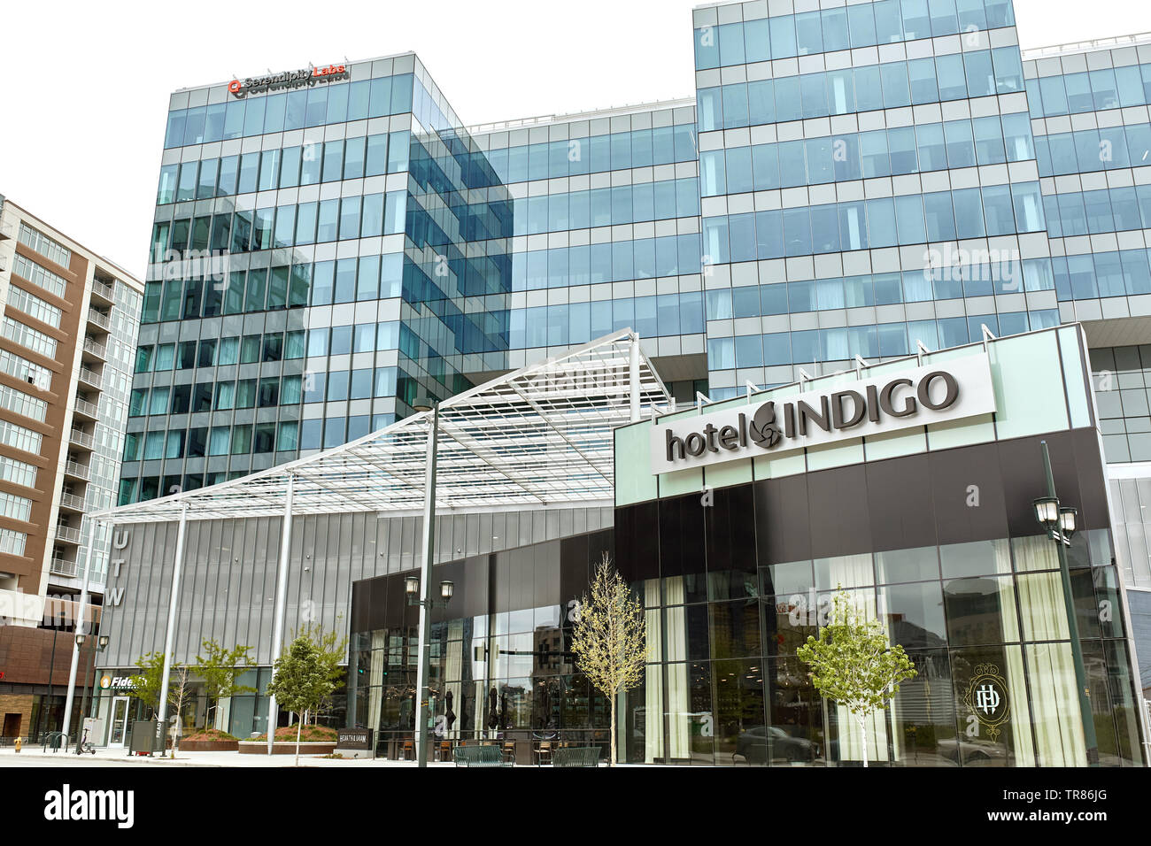 Exterior of Hotel Indigo near Union Station in downtown Denver, Colorado Stock Photo