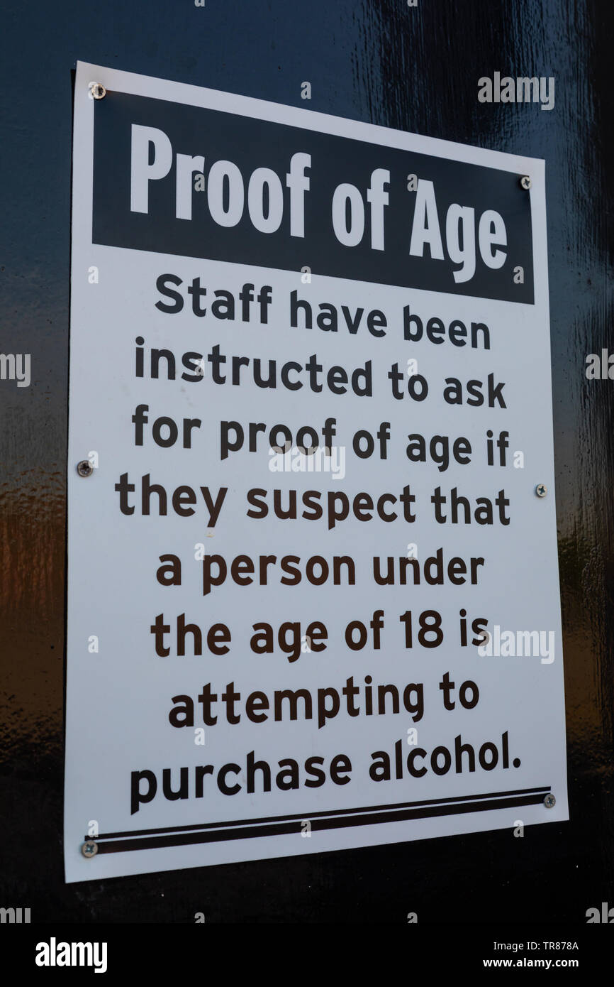 Sign outside a nightclub indicating staff will ask for proof of age Widnes England April 2019 Stock Photo