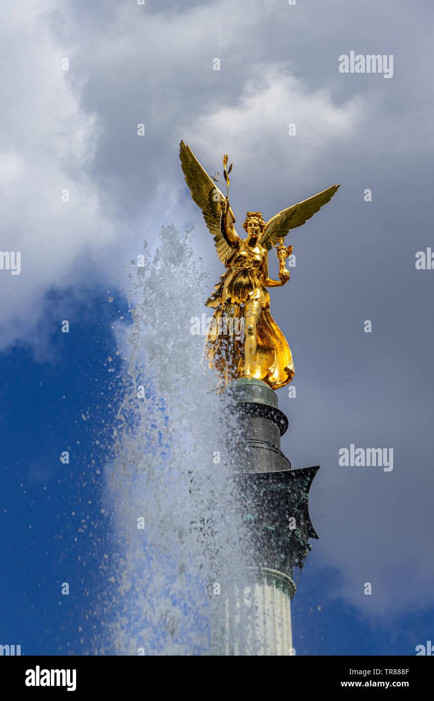 Angel of peace statue called Friedensengel in Munich, Bavaria Stock Photo