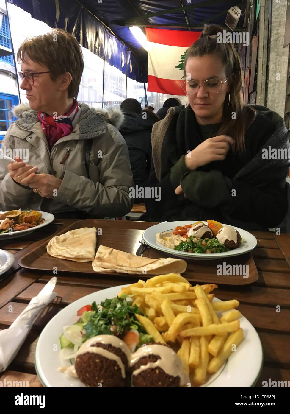 Lebanese restaurant, Marché des Enfants Rouges, Paris, France Stock Photo