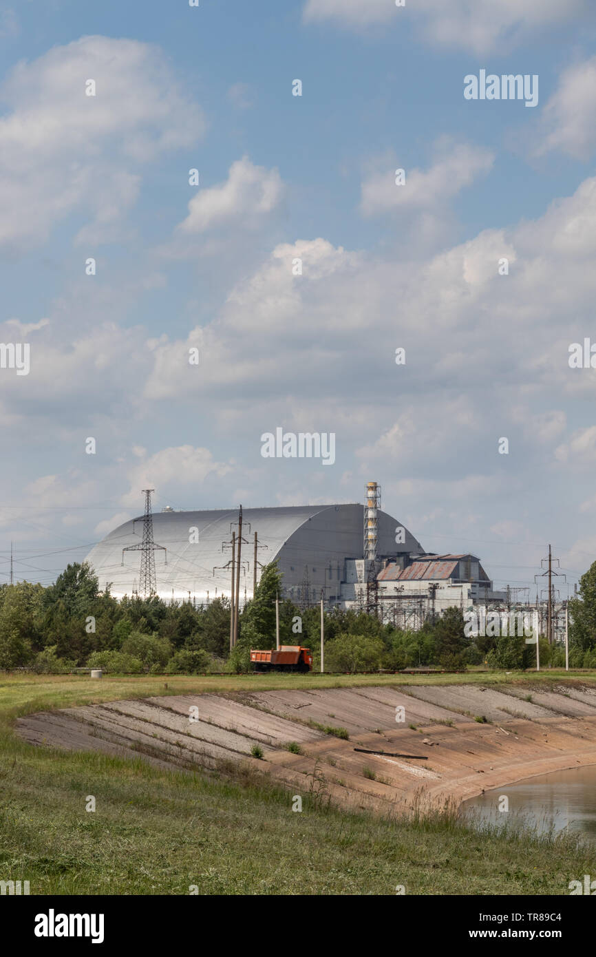 May 2019 – Chernobyl Nuclear Power Plant, Reactor 4, Chernobyl exclusion zone, Ukraine - Stock Image