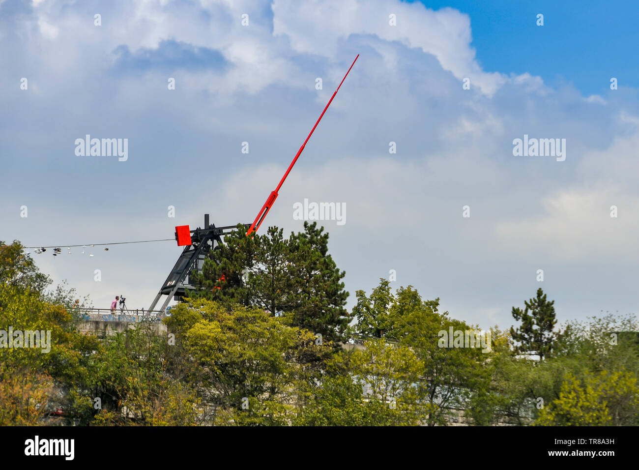 PRAGUE, CZECH REPUBLIC - JULY 2018: The Prague metronome is a working metronome in Letna Park above the city. It replaced a statue of Stalin Stock Photo