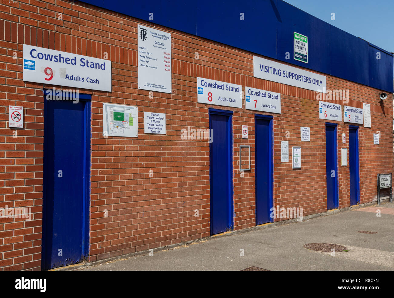 entrance for visiting away supporters for the Cowshed Stand at Tranmere Rovers Wirral April 2019 Stock Photo