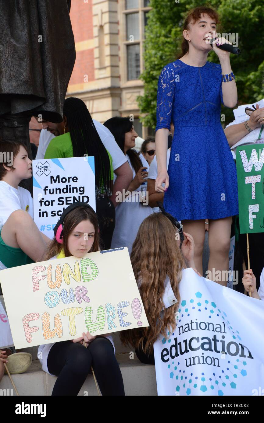 SEND National Crisis held a rally at Parliament Sq after delivering a petition to 10 Downing on Thursday 30th May 2019. - Stock Image