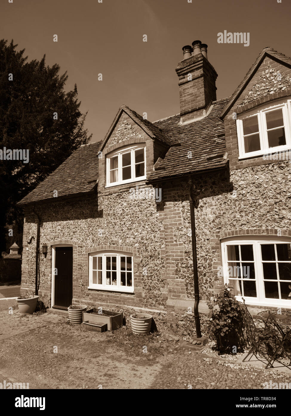 Row of Houses, Terraced Cottages, Rural Village Hanbilden, Buckinghamshire, England, UK, GB. - Stock Image