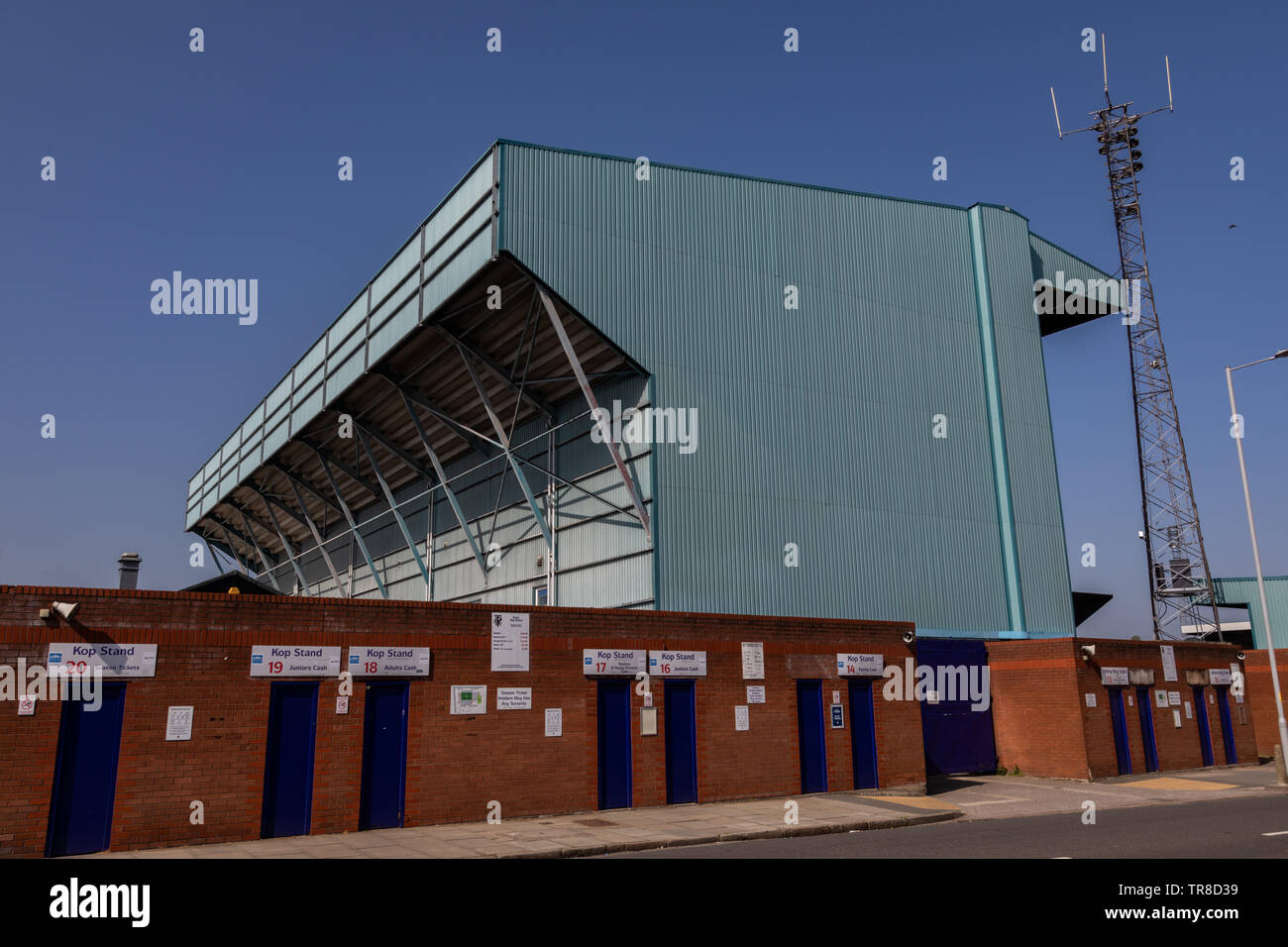 Kop Stand at Tranmere Rovers Wirral April 2019 Stock Photo