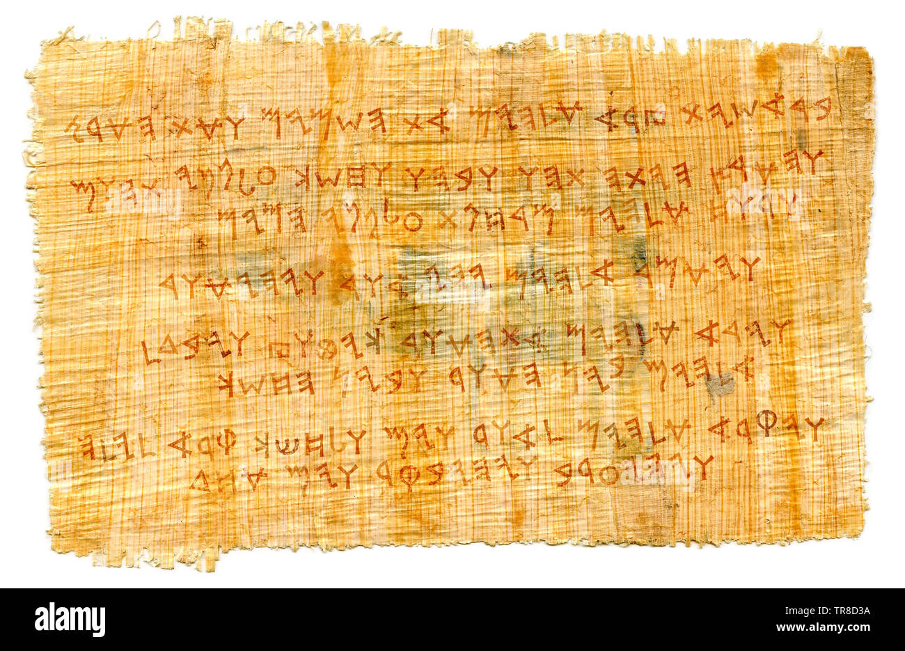 The Phœnician manuscript. The most first Alphabet in The World, Proto-writing. The Middle East, c.1500–1200 B.C. // Ancient papyrus. - Stock Image