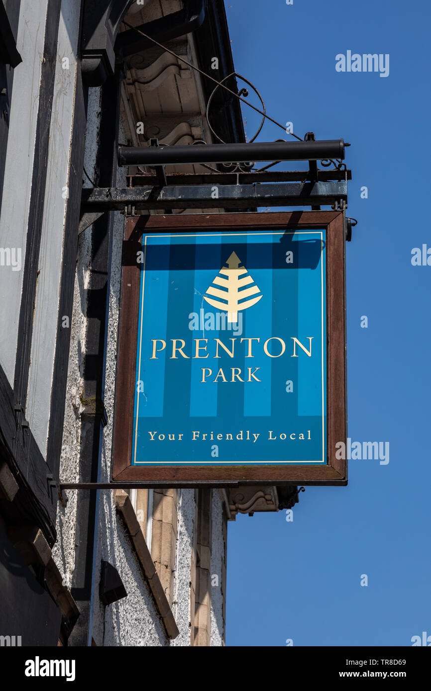 Exterior  sign for the Prenton Park pub by Tranmere Rovers football ground Wirral April 2019 Stock Photo