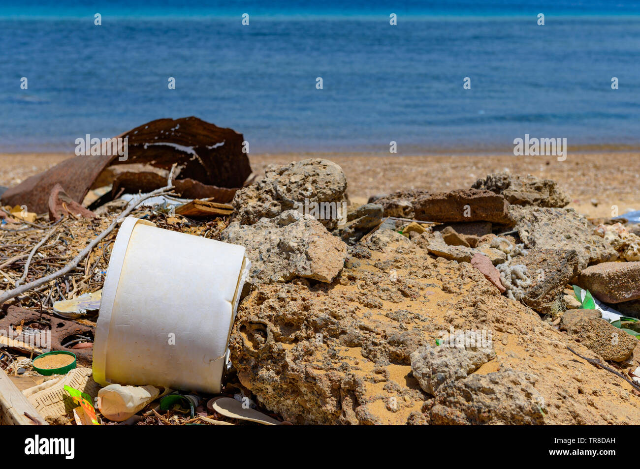 Spilled garbage on the beach of the big city. Empty used dirty plastic bottles. Dirty sea sandy shore the sea. environmental pollution. ecological pro - Stock Image
