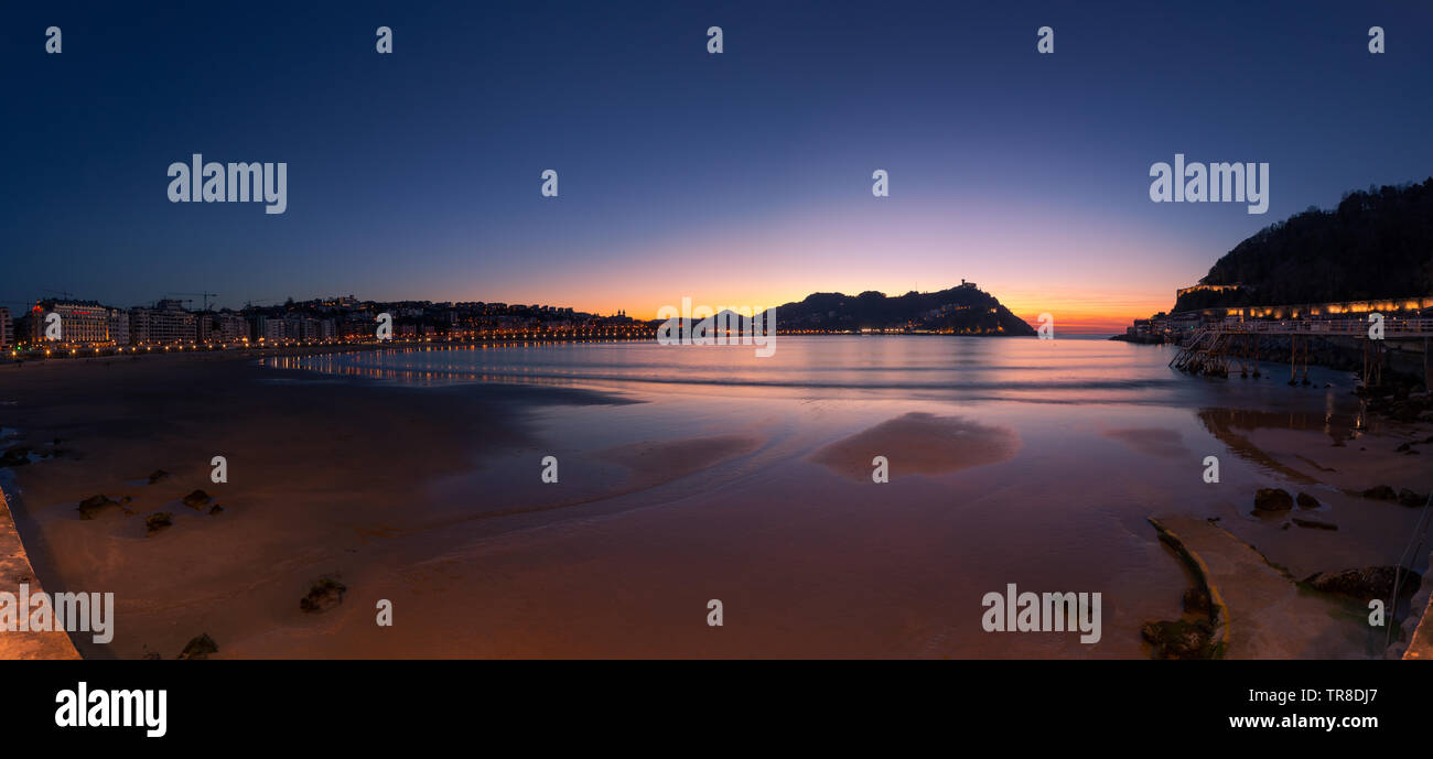 View from Donostia San Sebastian at the Basque Country. Stock Photo