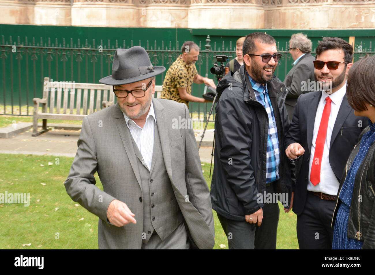 George Galloway, Old Place Yard, Westminster 30th May 2019 politely & with grace refuses a spur of the moment request to speak at a nearby PTM demo. - Stock Image