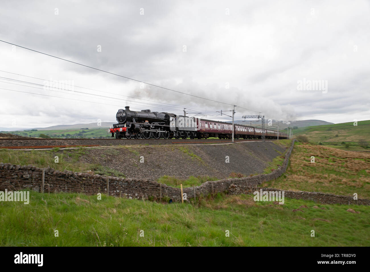 Steam Locomotive, LMS Jubilee Class,  45690 Leander at Tebay - Stock Image