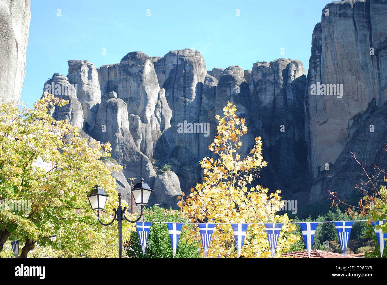Meteora - rock formation in central Greece with six monasteries built on top - Stock Image