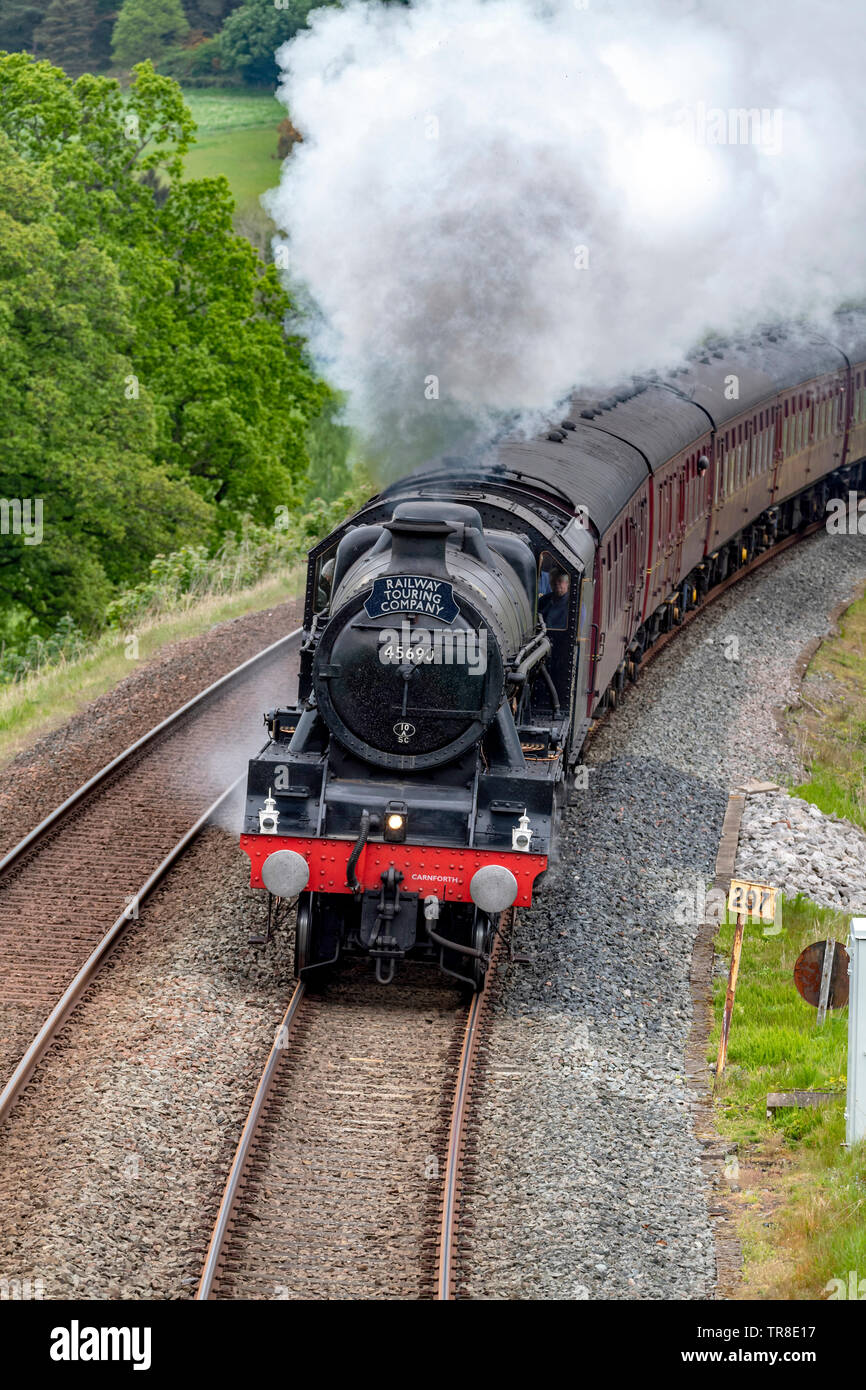 Steam Locomotive, LMS Jubilee Class,  45690 Leander at Armathwaite Corner on the Carlisle to Settle line - Stock Image
