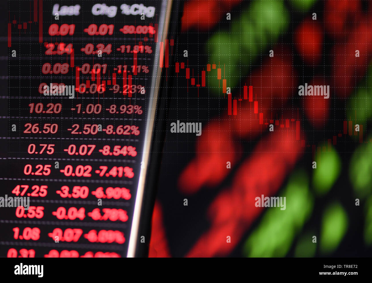 Stock crisis red price drop down chart fall on screen / Stock market exchange analysis graph business and finance money losing moving economic inflati - Stock Image