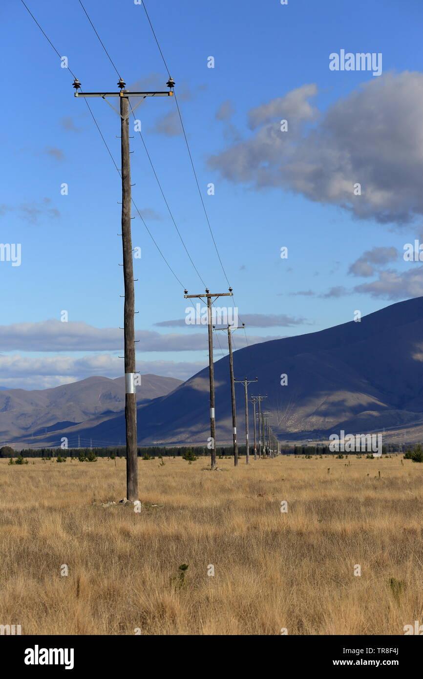 Powerlines, Mackenzie Country, New Zealand - Stock Image