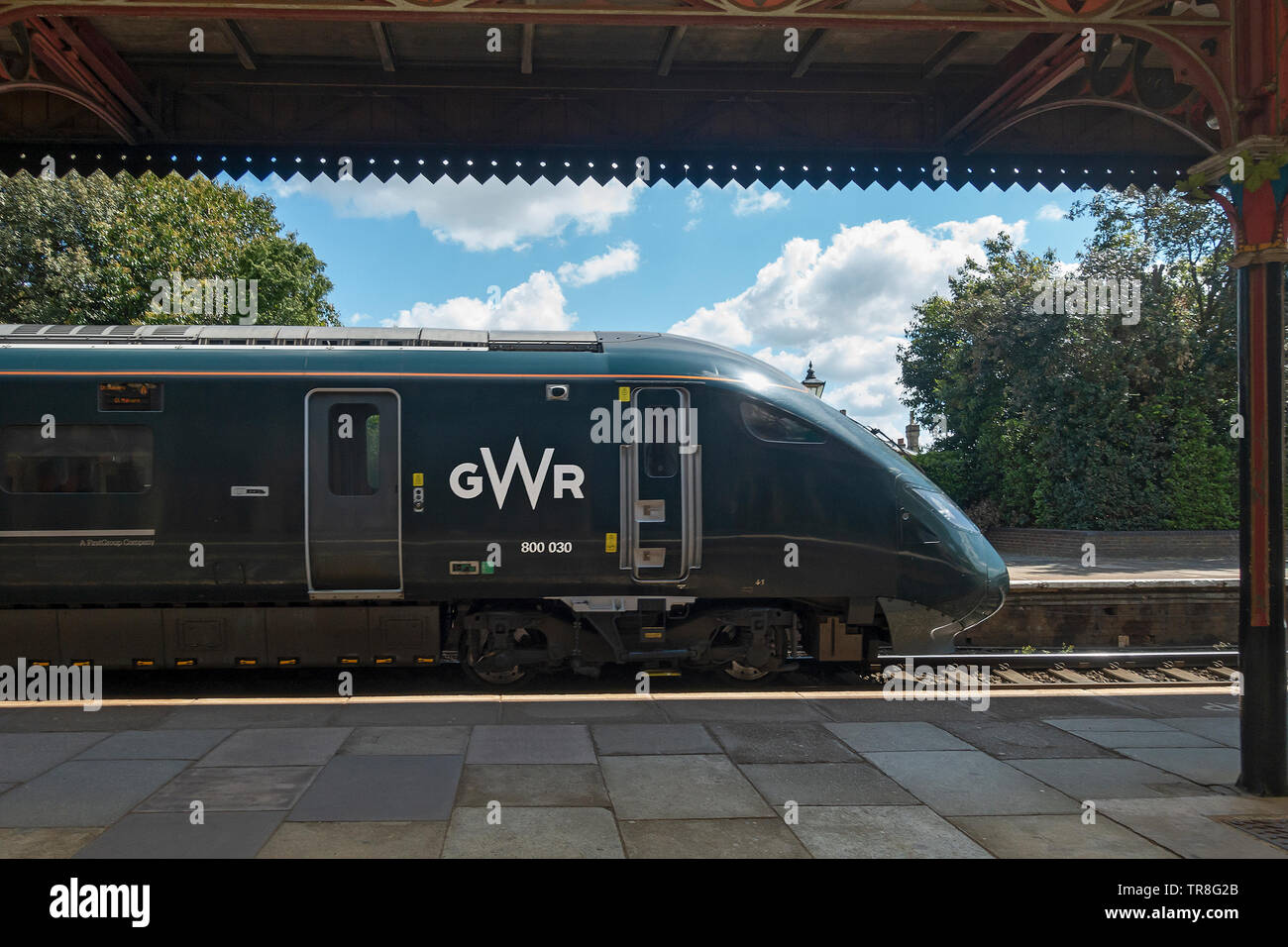 A GWR Class 800 Intercity Express Train by Hitachi electro-diesel multiple unit train passing through Great Malvern station. - Stock Image
