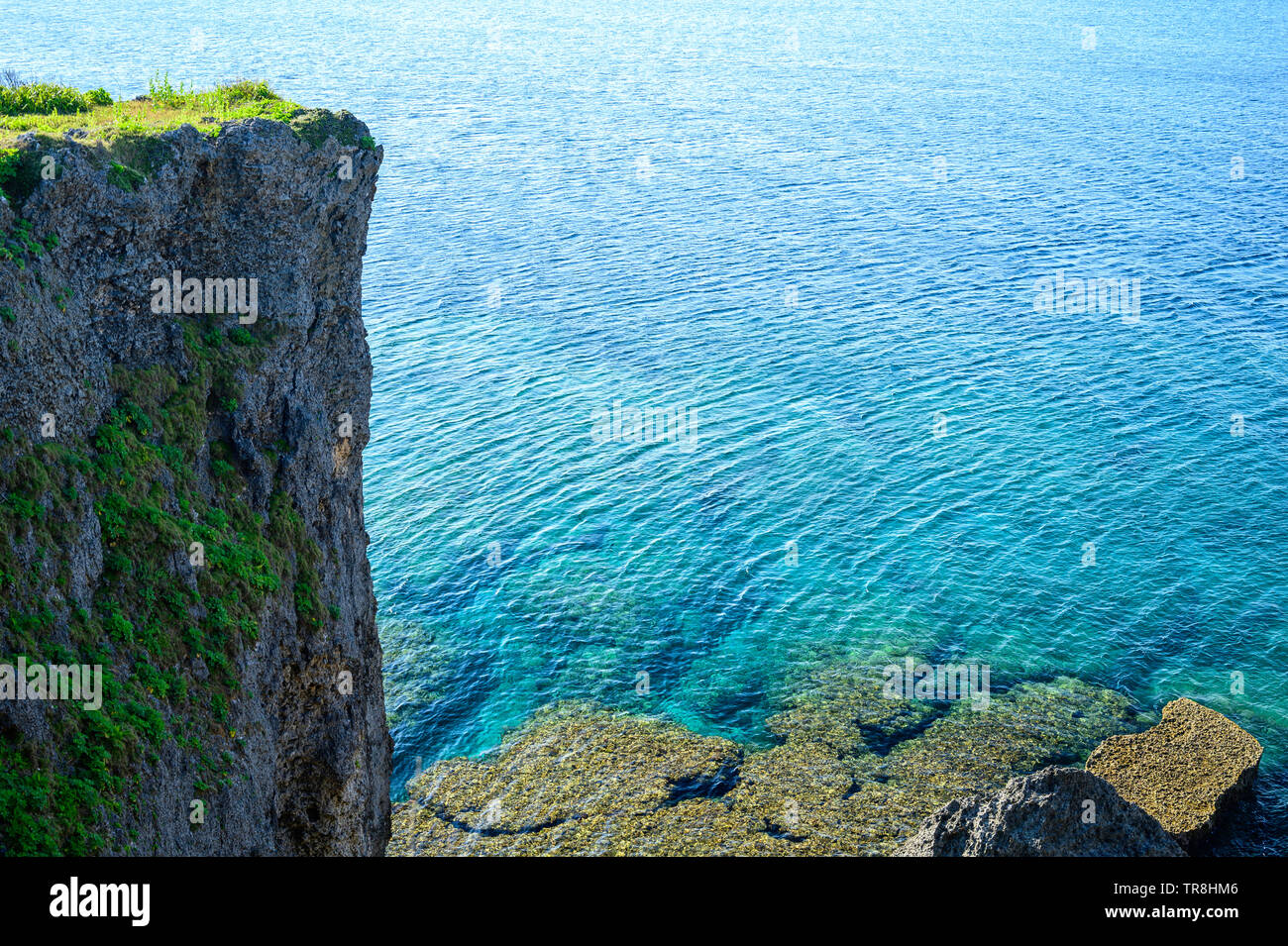 Clear view of Okinawan coast - Stock Image