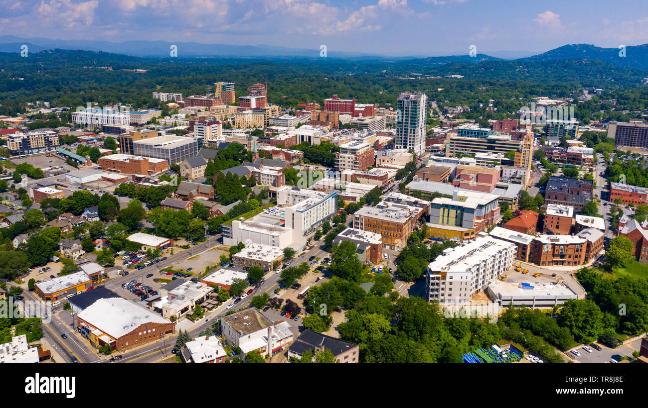 Aerial view of Downtown Asheville, NC, USA - Stock Image