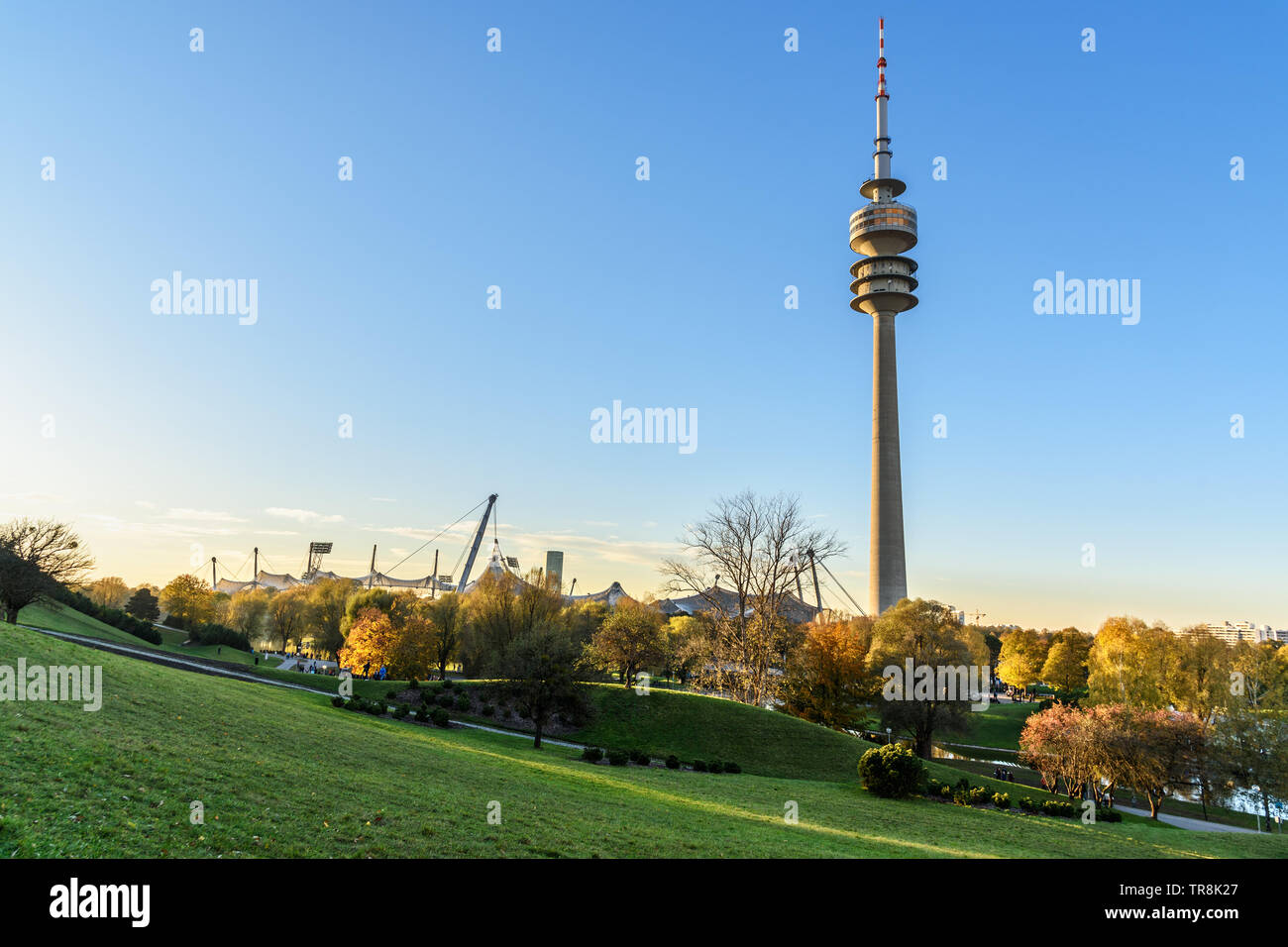 Munich, Germany - November 01, 2018: Olympic tower in Olympic Park or Olympiapark in Munich - Stock Image