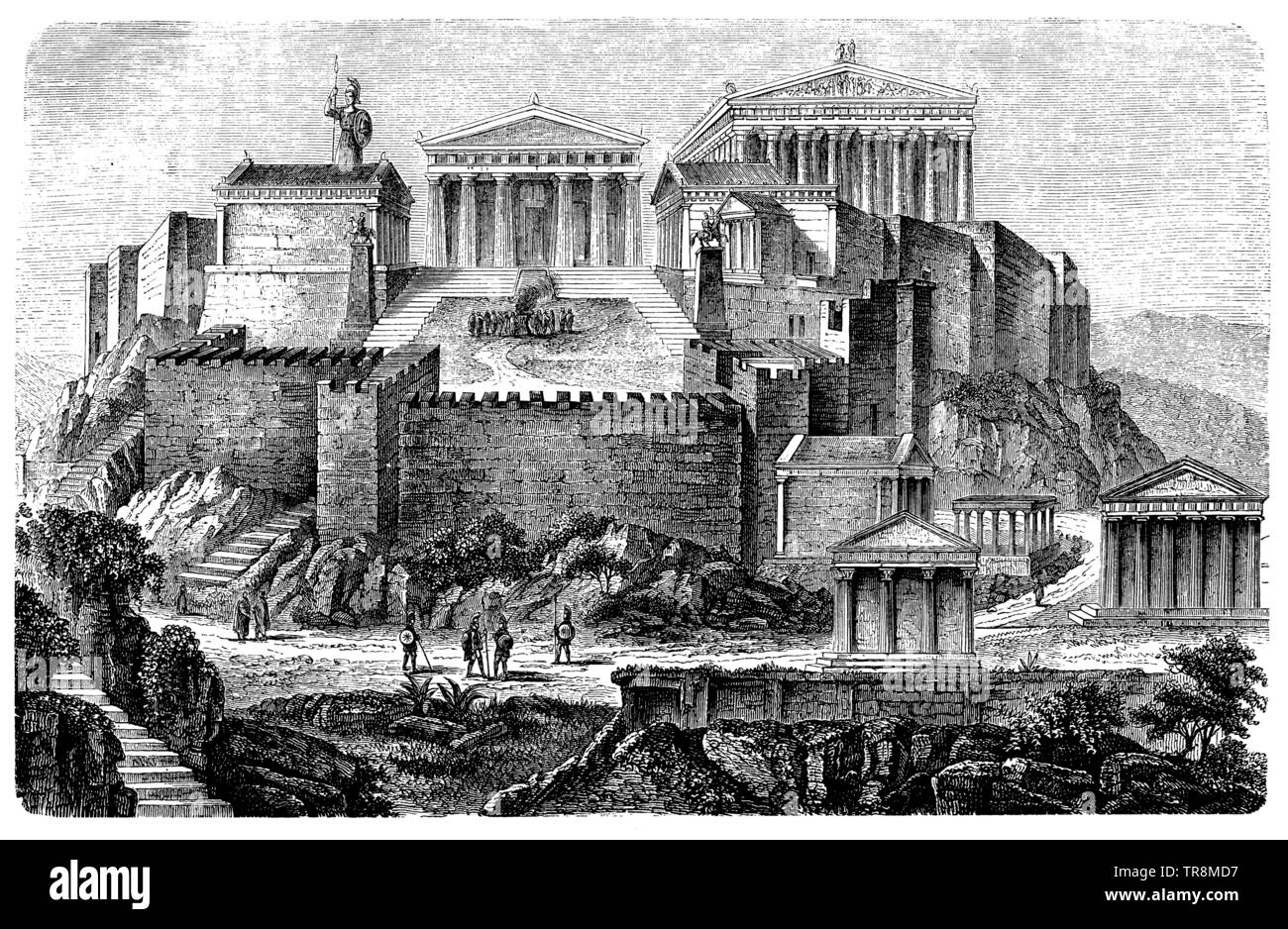 Acropolis of Athens at the time of Pericles, ,  (art history book, 1887) Stock Photo