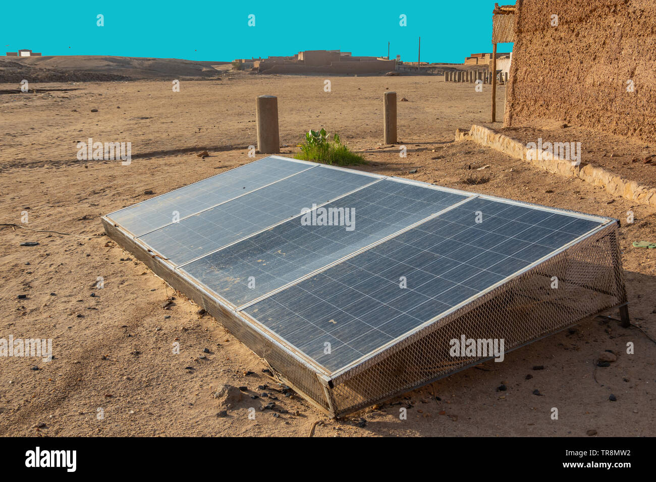 Solar energy generation with a solar module in the desert near Nuri in Sudan to generate electricity from sunlight. Stock Photo