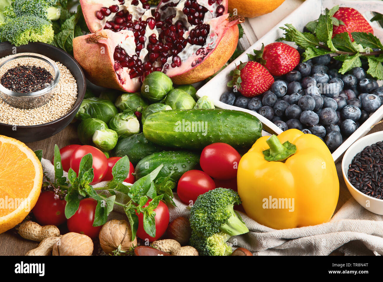 Healthy diet background  Clean and detox eating  Vegan or