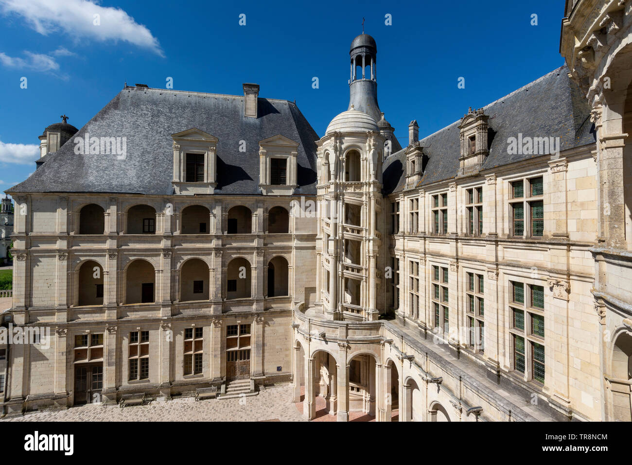 Outside tower of The Royal Chateau at Chambord, , Loire Valley, Loir-et-Cher department, Centre-Val de Loire, France, Europe Stock Photo