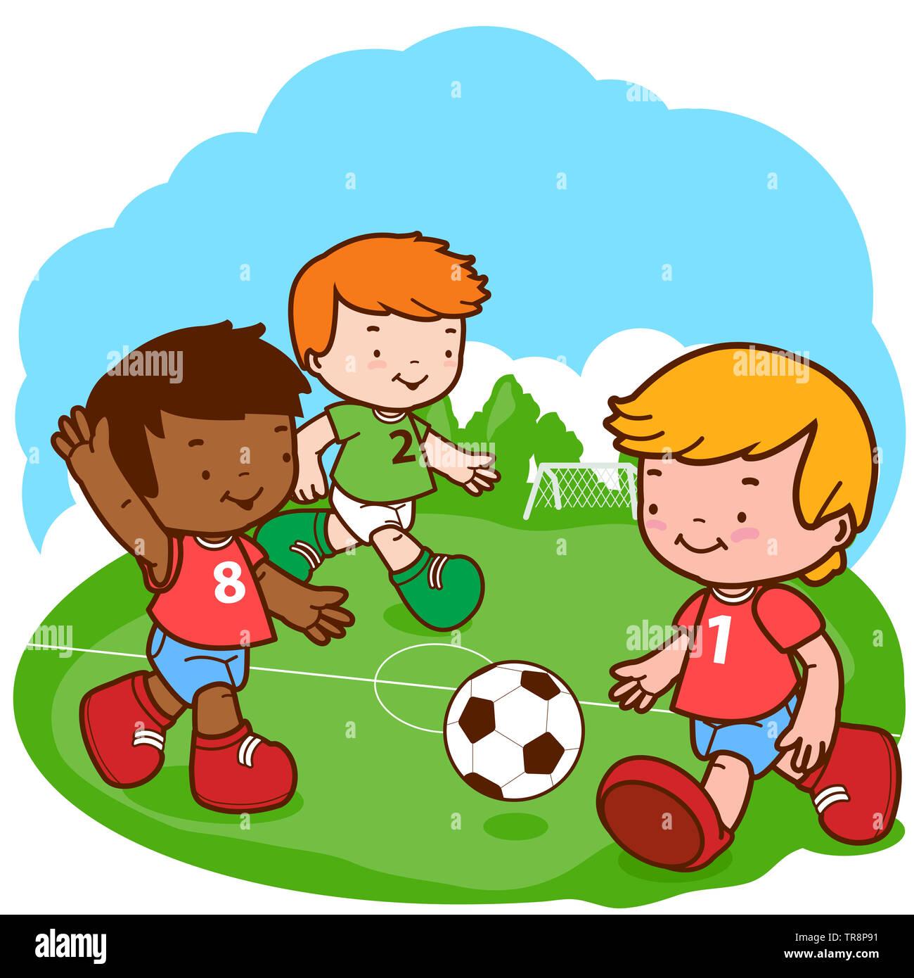 Illustration of three little boys play soccer. Stock Photo