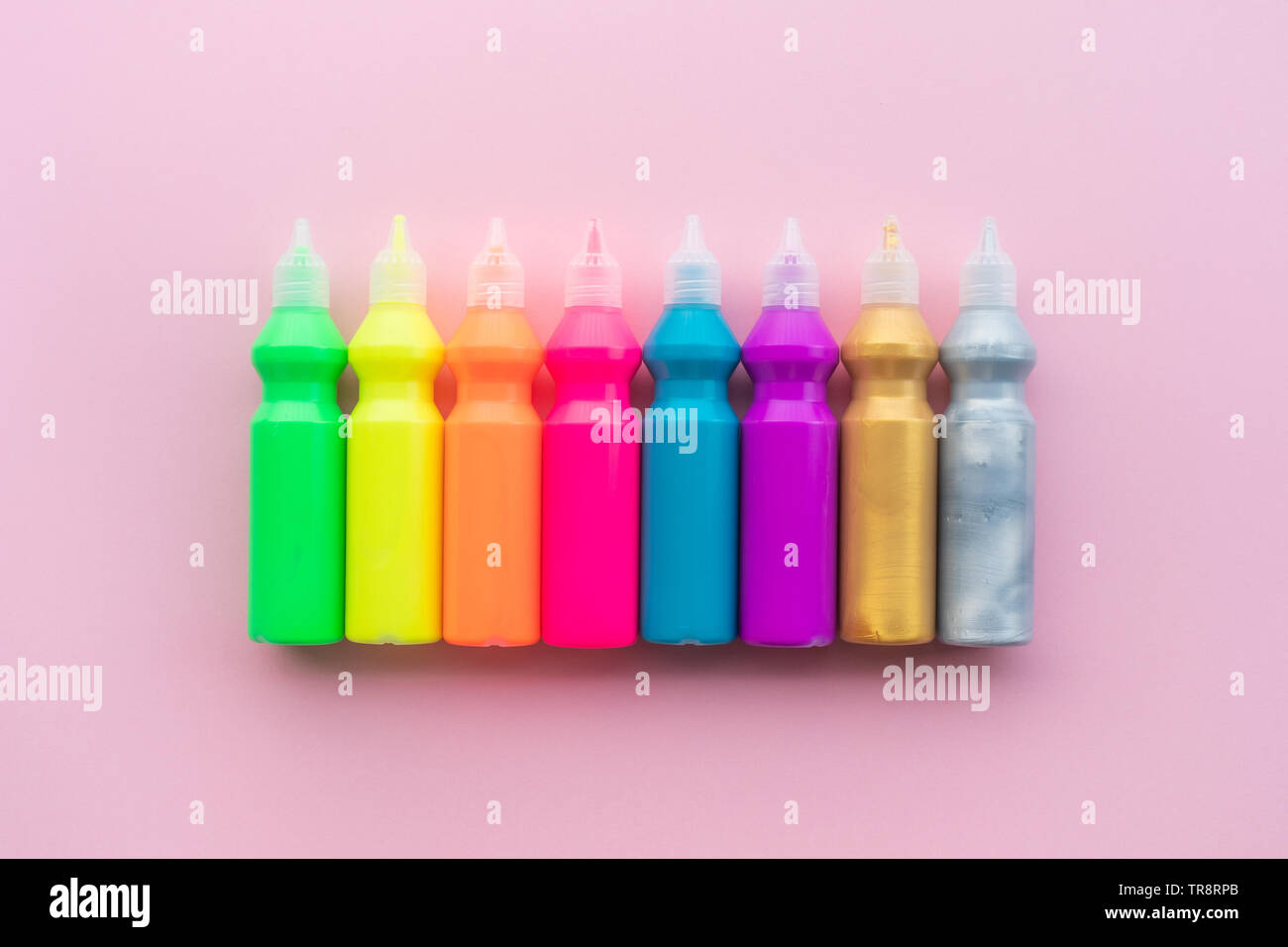 Color concepts ideas with set of acrylic color on background space.creativity and learning - Stock Image