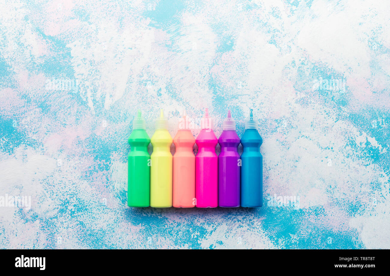 Color concepts ideas with set of acrylic color on brush painting background space. - Stock Image