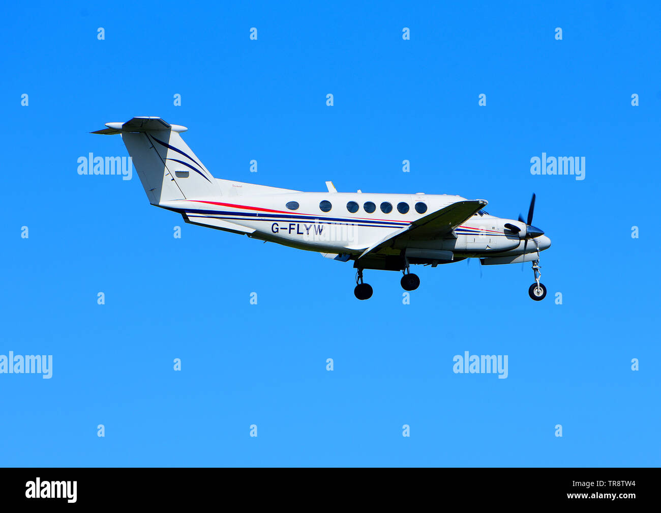 A Beechcraft Model 200 Super King Air on approach to RAF Lossiemouth airfield on the North East coast of Scotland. UK Stock Photo