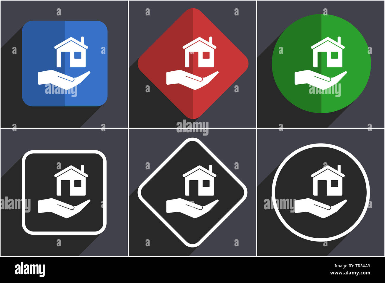 House care set of flat design web icons in 6 options - Stock Image