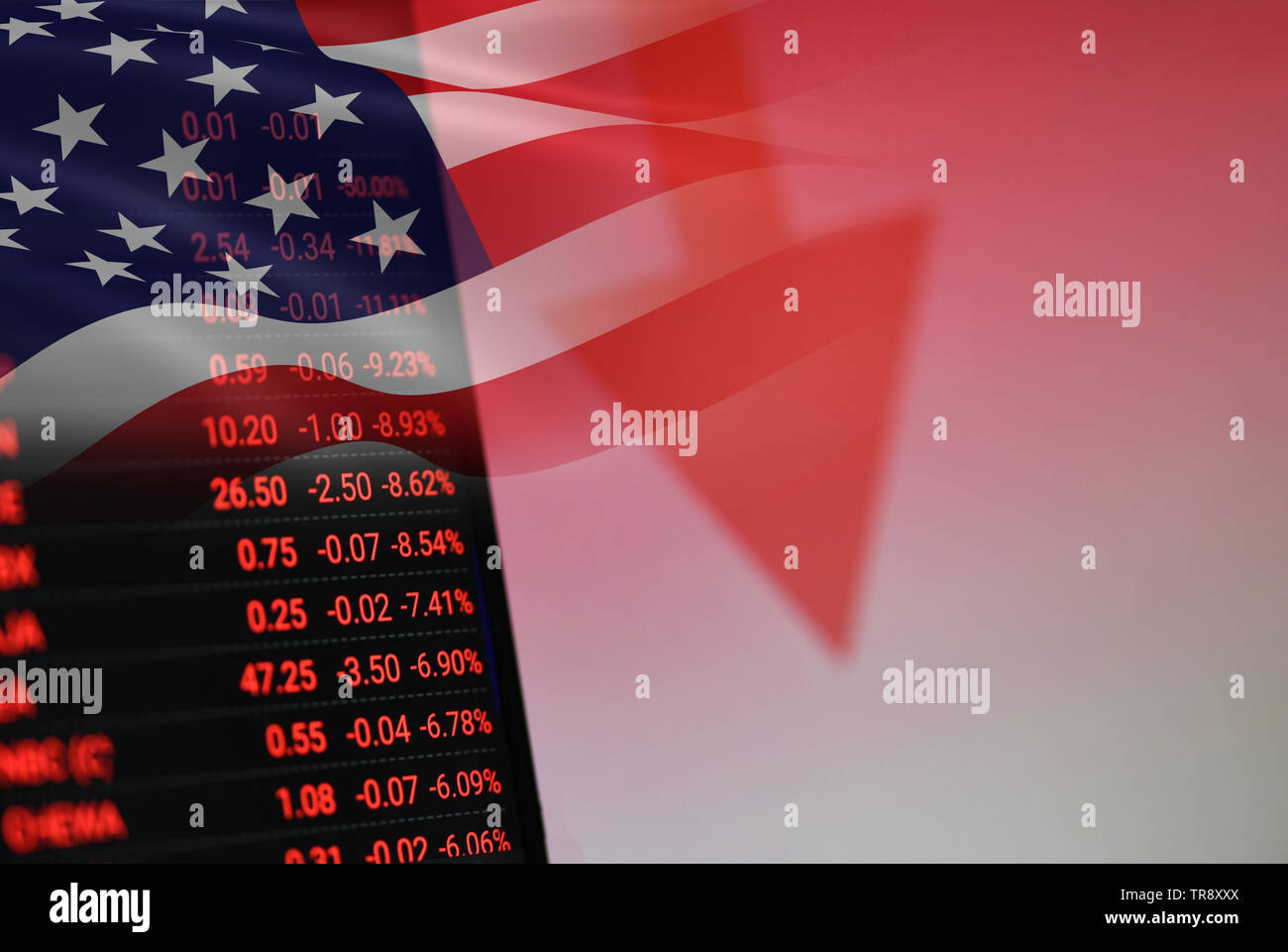 USA. America stock market crisis red price arrow down chart fall / New york Stock Exchange analysis or forex graph business finance money losing movin - Stock Image