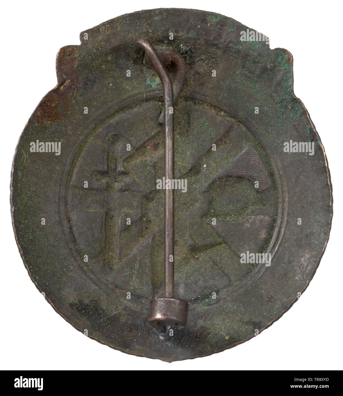 A fidelity badge for the Netherlands volunteers of the NSKK Hollow-stamped non-ferrous metal badge awarded to Dutch members of the NSKK for deployment on the Eastern front. Very rare. historic, historical, organisation, organization, organizations, organisations, 20th century, Additional-Rights-Clearance-Info-Not-Available - Stock Image