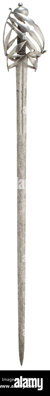 A Venetian schiavona, 2nd half of the 17th century Double-edged blade with a lenticular cross-section and with fullers on both sides at the base of the blade. There is a stylized Passau wolf in front of the fullers, which bear the inscription '...en Toledo'. The root shows a crowned 'BC' mark and the Amsterdam arsenal mark. Iron basket hilt stamped twice with the Venetian arsenal mark. Grip cover with the original lavish iron wire winding and Turk's heads. Massive, slightly tapered, oval pommel. Length 111 cm. historic, historical, sword, swords,, Additional-Rights-Clearance-Info-Not-Available - Stock Image