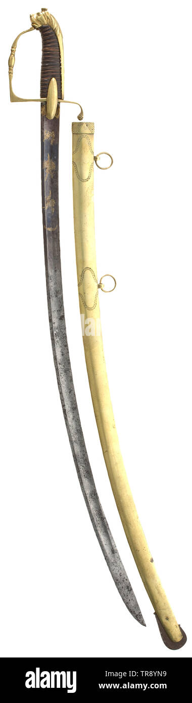 A sabre for cavalry officers Fullered, single-edged blade with double-edged point. The forte etched, blued and gilt. Gilt brass stirrup hilt with lion head pommel, leather grip with copper wire wrap. Engraved brass scabbard with two suspension rings. Length 98.5 cm. historic, historical, France, Imperial, French Empire, object, objects, stills, clipping, cut out, cut-out, cut-outs, 19th century, Additional-Rights-Clearance-Info-Not-Available - Stock Image