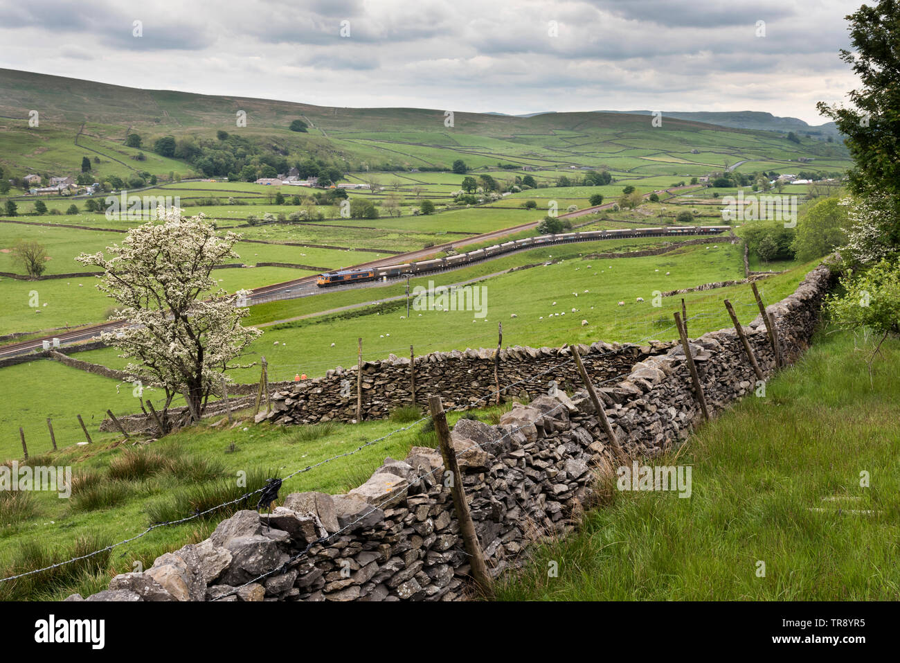 A train of empty waggons reverses into the sidings at Arcow Quarry, Helwith Bridge on the Settle-Carlisle railway line, where the waggons are loaded. - Stock Image