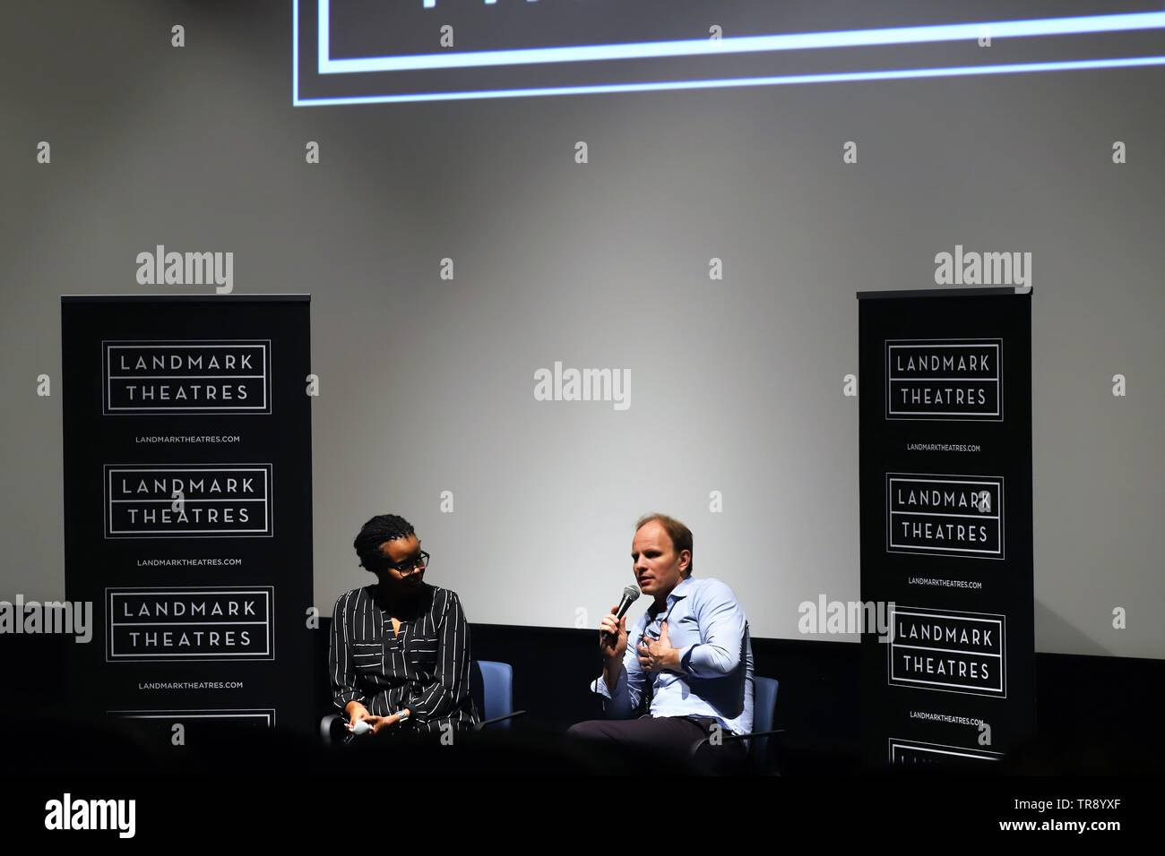 LOS ANGELES - May 10: Finnish director Dome Karukoski (pictured right) answers questions about the biopic 'Tolkien' at The Landmark. - Stock Image