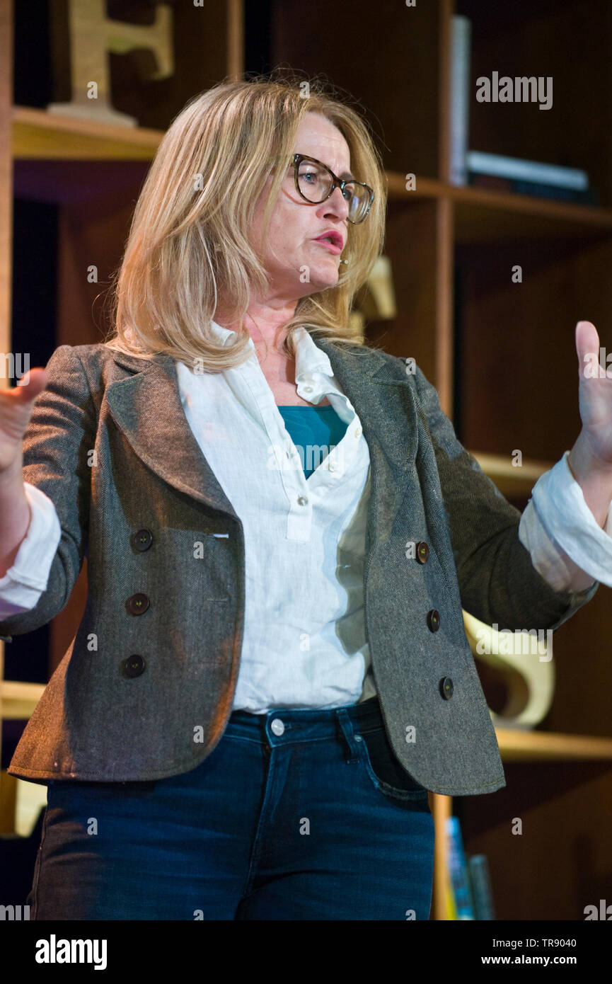 Marsha O'Mahony writer author journalist oral historian speaking about her book on the River Wye in Herefordshire on stage at Hay Festival Hay on Wye Powys Wales UK - Stock Image
