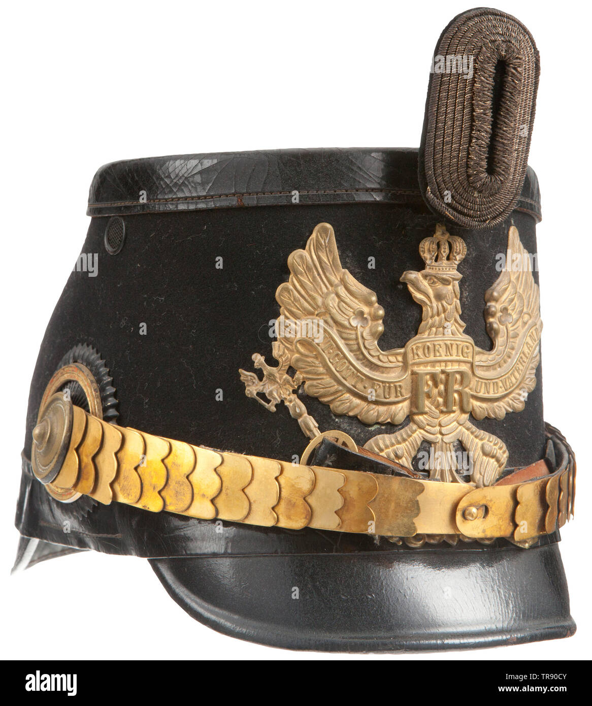 IMPERIAL GERMANY UNTIL 1914, An imperial German Prussian Jäger officer shako Black leather body with front and rear visors, black felt cloth covering around mid-section of helmet and leather crazing on body top, gilt Prussian officer front plate attached by two brad splintas, silver bullion and black velvet field badge. Flat, gilt scale chinstraps attached by officer gilt rosette side posts, officer black and gold cockade, green silk lining with tan leather sweatband. CNN382, Additional-Rights-Clearance-Info-Not-Available - Stock Image
