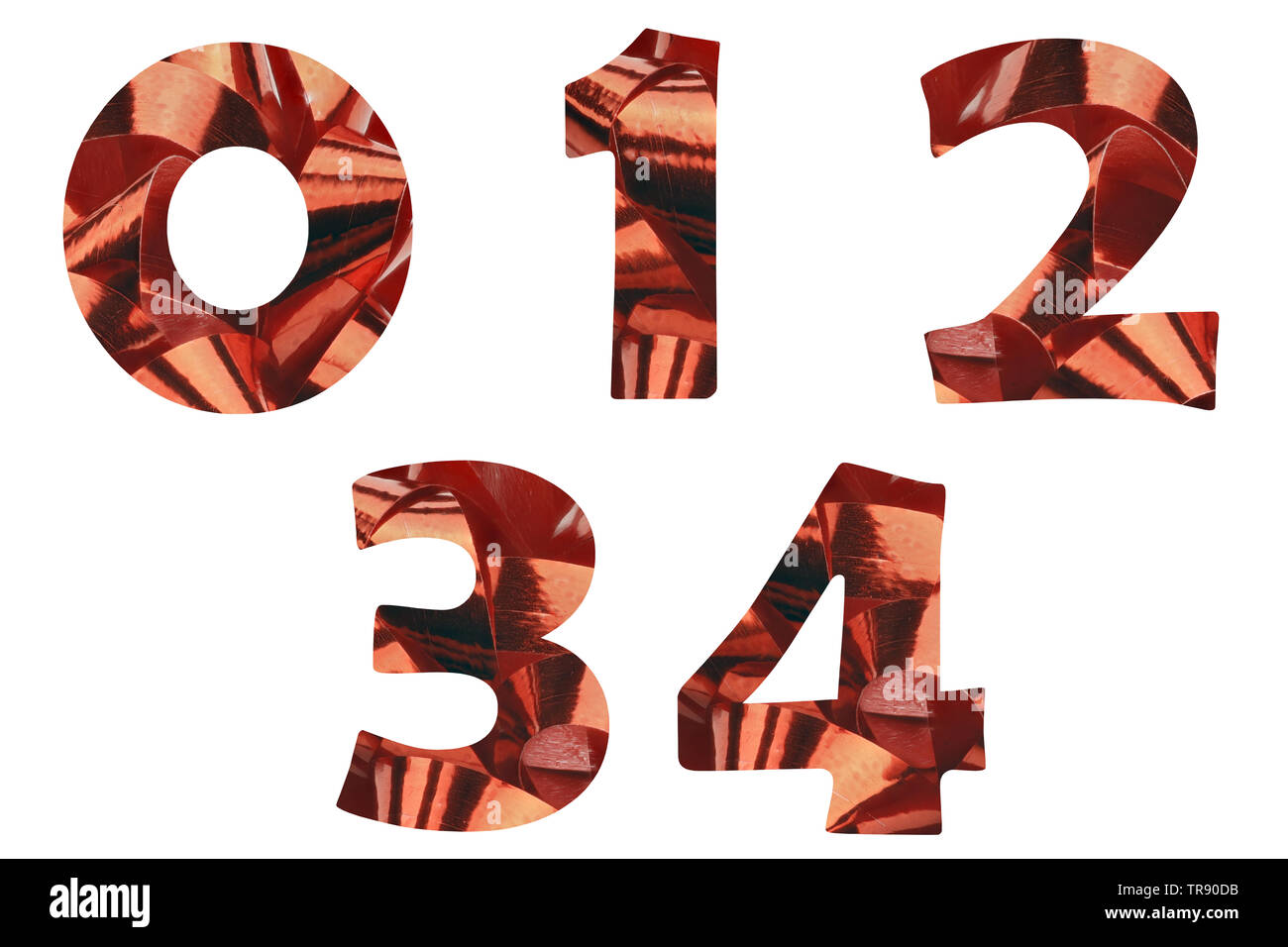 A set of the numbers 0,1,2,3 and 4 cut out of a close-up of a red gift ribbon - Stock Image
