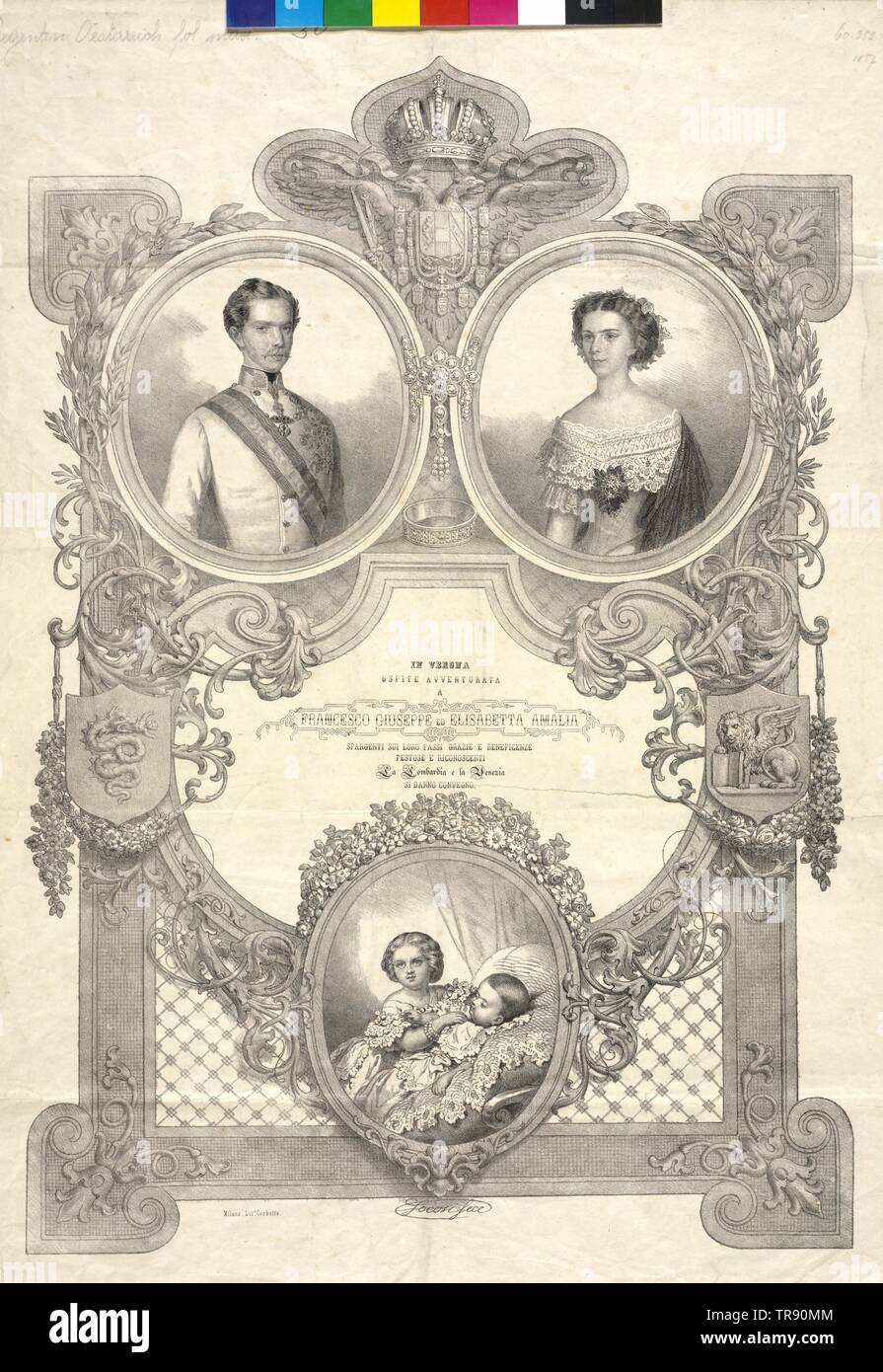 Franz Joseph I, Emperor of Austria, tableau in the ocassion of the visiting tour through Lombardy Veneto 1856 / 57: Franz Joseph and Elisabeth with the children Sophie and Gisela, lithograph by Alessandro Focosi, Additional-Rights-Clearance-Info-Not-Available - Stock Image
