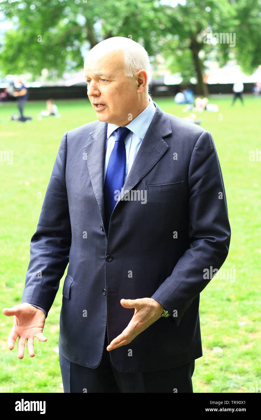 IAIN DUNCAN SMITH IN WESTMINSTER ON THE 30TH MAY 2019. IDS. CONSERVATIVE PARTY POLITICIANS. BRITISH POLITICIANS. UK POLITICS. POLITICING. POLITICS. MINISTERS. LEADERS. CONSERVATIVE AND UNION PARTY. TORY PARTY. TORIES. - Stock Image