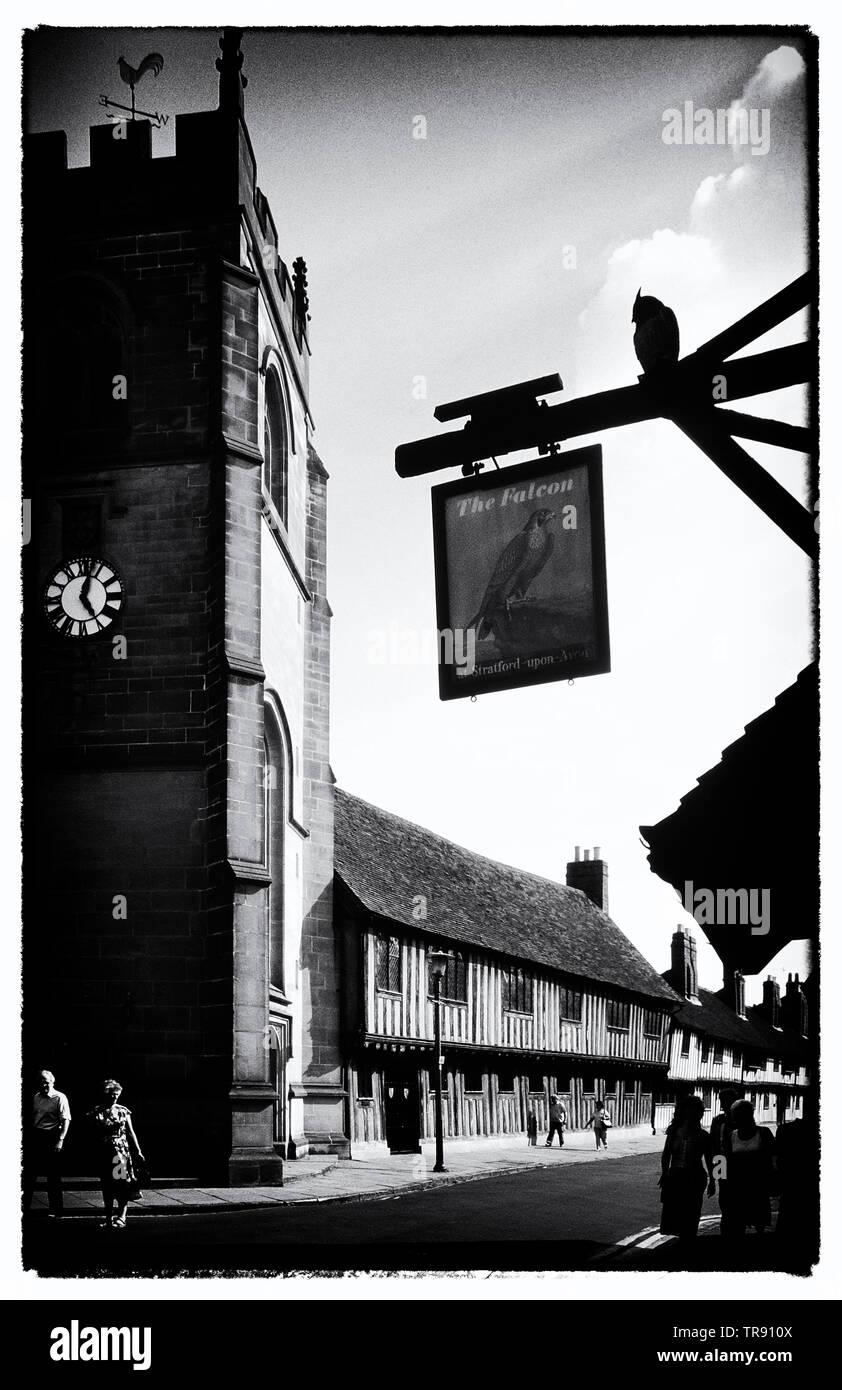 The Guild Chapel, Shakespeare's School & Guildhall, Church Street, Stratford-upon-Avon, Warwickshire, England, UK. Circa 1980's Stock Photo